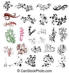 花のパターン, 抽象的, セット