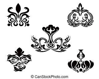 花のパターン, 抽象的, 黒