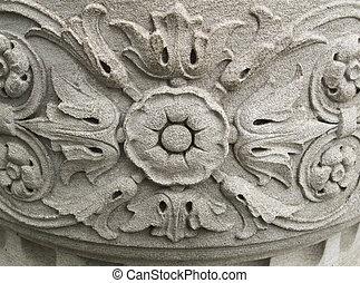 花のパターン, 石, 刻まれた