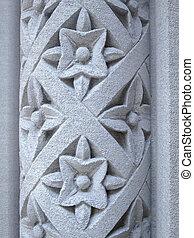 花のパターン, 石, 刻まれた, 柱