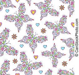 花のパターン, 蝶, 抽象的
