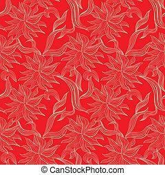 花のパターン, 装飾, seamless, 赤