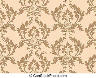 花のパターン, 飾られた, 背景, クラシック