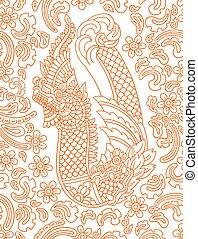花のパターン, dragon., ベクトル, アジア人
