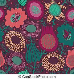 花のパターン, seamless, カラフルである