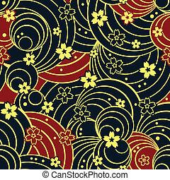 花のパターン, seamless, 夜