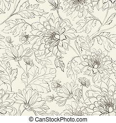 花のパターン, seamless, 菊