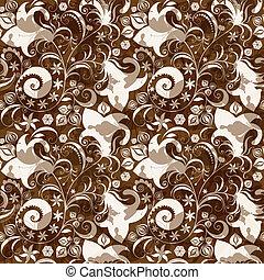 花のパターン, seamless, brown-white