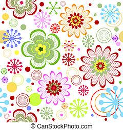 花のパターン, seamless, (vector), 鮮やか
