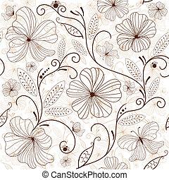 花のパターン, seamless, white-brown
