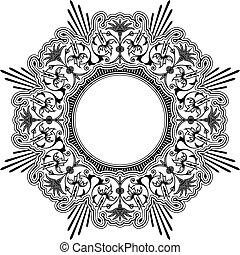 花のボーダー, ラウンド, calligraphic