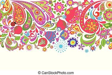 花のボーダー, 背景, 抽象的, ざくろ, 民族, 白, カラフルである, seamless, デザイン, 花, ...