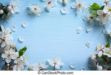 花のボーダー, 芸術, 春, 背景, 白い花