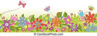 花のボーダー, seamless