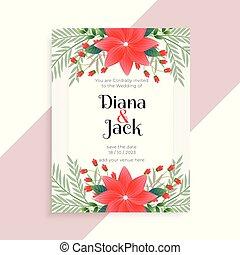 花の意匠, カード, テンプレート, 結婚式
