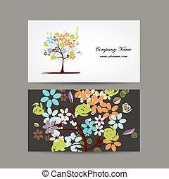 花の意匠, カード, 木, ビジネス