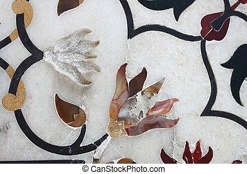 花の意匠, 上に, ∥, 大理石, 壁