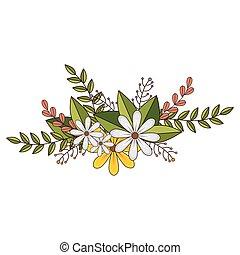 花の意匠, 葉, 花, 王冠