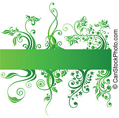 花の意匠, 要素, 緑, 自然, ベクトル