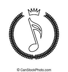 花冠, 框架, 由于, 音樂注釋, 行家, 風格