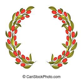 花冠, 王冠, 水果, 橄欖, 或者, 紅色