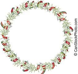 花冠, 被隔离, 襪子, 輪, white., 聖誕老人, 聖誕節