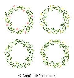花冠, 集合, 葉子
