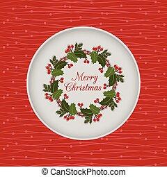 花冠, seamless, 紅色, holly, 圣誕節卡片