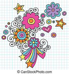 花力量, 時髦, doodles, 矢量
