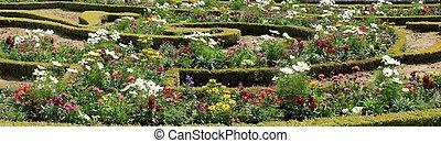 花园, 同时,, 花, 在中, 凡尔赛, -, paris., 法国