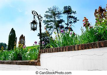 花园, 带, 墙壁