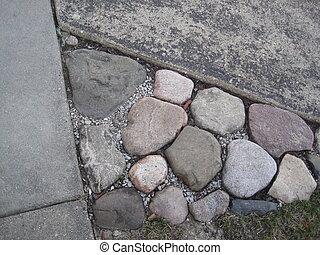 花园, 石头, 在中, hdr