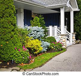 花園, 以及, 家, 入口