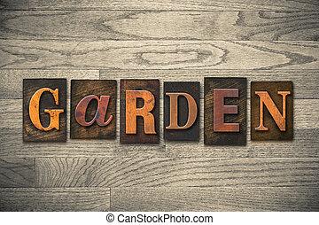 花園, 木制, letterpress, 概念