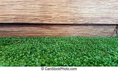 花園, 柵欄, -, 木頭, 以及, 草