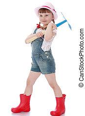 花園, 短褲, 工具, 處理, 靴子, 嬰兒蔬菜