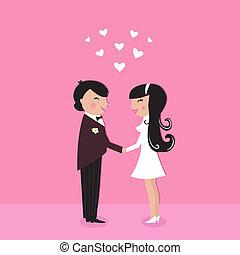 花婿, かわいい, 花嫁, 式, 結婚式