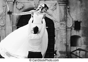 花婿, 上昇, a, 花嫁, の上, 間, 地位, 前部, の, a, 城