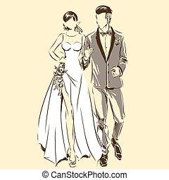花婿, 婚約者, シルエット, タキシード, 恋人, 花嫁, 結婚式