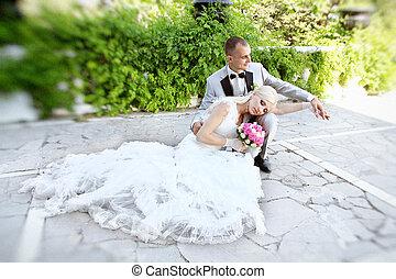 花婿, 幸せ, 公園, 花嫁