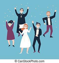 花婿, 後で, ゲスト, 花嫁, 結婚式, ceremony.