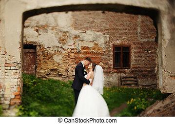 花婿, 手掛かり, 花嫁, しっかり, 間, 地位, 前部, の, れんがの壁