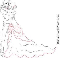 花婿, 抱擁, 花嫁