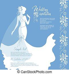 花婿, 招待, 花嫁, ベクトル, 結婚式, 写実的な 設計, card.
