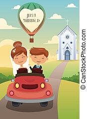 花婿, 自動車, 後で, 花嫁, 結婚式, 乗馬