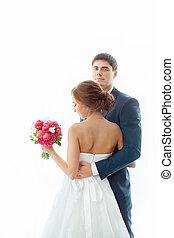 花嫁と花婿, 中に, 非常に, 明るい, 部屋, 家で