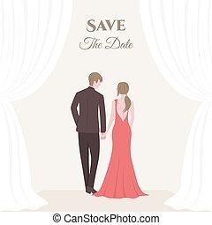 花嫁, カップル。, 花婿, 結婚式