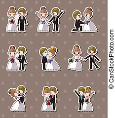 花嫁, セット, ステッカー, 結婚式