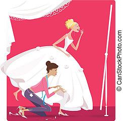 花嫁, 仮縫い, 服