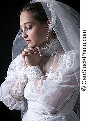 花嫁, 古い, スタジオ, 背景, 黒